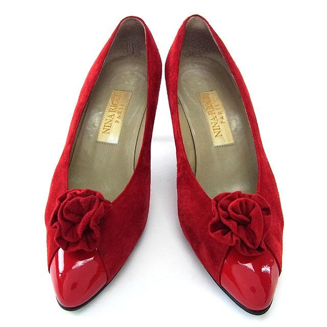 【中古】 ニナリッチ NINA RICCI パンプス シューズ 靴 レディース ♯36ハーフ ポインテッドトゥ レッド T16109 .