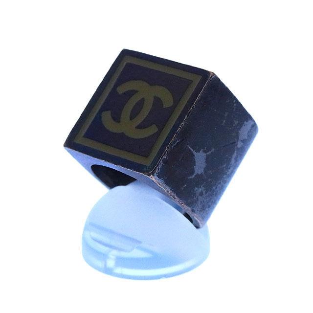 【中古】 シャネル CHANEL 指輪 リング アクセサリー メンズ可 ♯11号 スクエア ココマーク ブラックシルバー系 ブラックシルバー素材 (あす楽対応)激安 Y2406 .