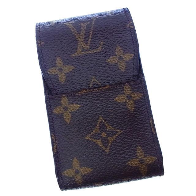 【中古】 ルイヴィトン Louis Vuitton シガレットケース タバコケース メンズ可 エテュイシガレット モノグラム M63024 ブラウン モノグラムキャンバス (あす楽対応) 良品 Y2418 .