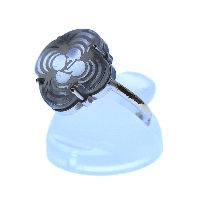 【中古】 ルイヴィトン Louis Vuitton 指輪 リング アクセサリー レディース バーグアラフォリ モノグラムフラワー M65665 グリ(シルバー) レジン×シルバーメッキ (あす楽対応) 良品 Y2423 .