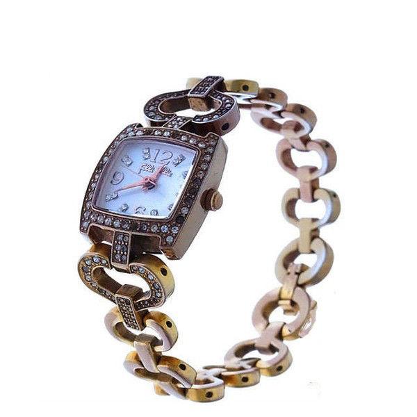 【中古】 フォリ フォリ Folli Follie 腕時計 ハートチェーン クォーツ ゴールド×クリア ラインストーン付き スクエアフェイス レディース Y2448s