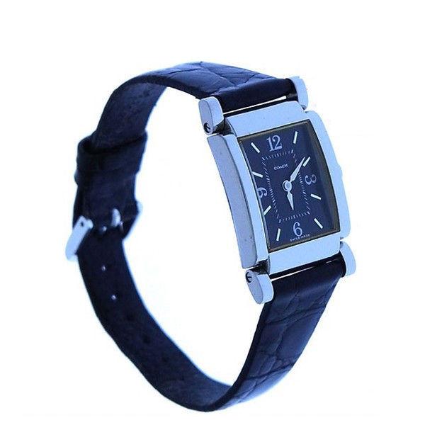 【中古】 コーチ COACH 腕時計 クォーツ レディース クロコダイル調 スクエアフェイス シルバー×ブラック ステンレススチール×レザー (あす楽対応) 良品 Y2455 .