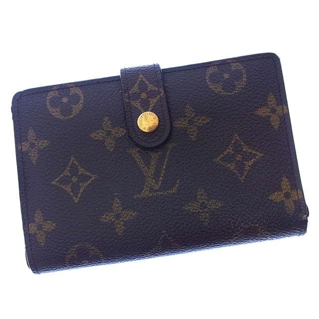 【中古】 ルイヴィトン Louis Vuitton がま口財布 二つ折り メンズ可 ポルトモネビエヴィエノワ モノグラム M61663 ブラウン モノグラムキャンバス (あす楽対応)激安 Y2458 .