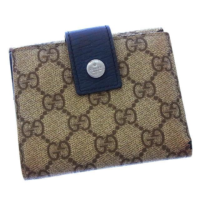 【中古】 グッチ GUCCI Wホック財布 二つ折り メンズ可 ロゴボタン付き GGプラス 115039 ベージュ系×ネイビー×シルバー PVC×レザー (あす楽対応)激安 Y2482 .