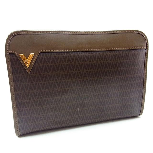 【中古】 ヴァレンティノ VALENTINO セカンドバッグ クラッチバッグ メンズ可 Vプレート付き V柄 ブラウン×ゴールド PVC×レザー (あす楽対応)良品 Y2497 .