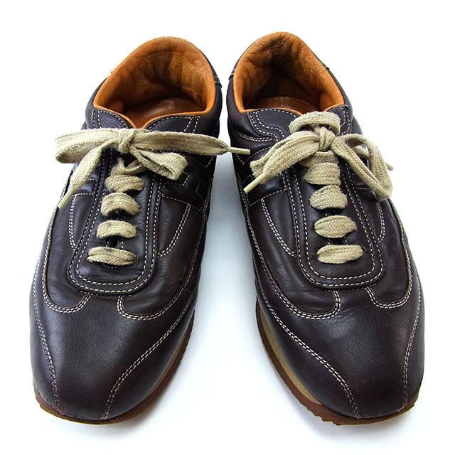 【中古】 エルメス HERMES スニーカー シューズ 靴 レディース ♯37 Hマーク クイック ブラウン×ベージュ レザー (あす楽対応)激安 Y2537 .