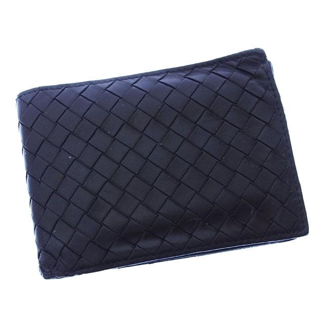 【中古】 ボッテガヴェネタ BOTTEGA VENETA 二つ折り財布 コンパクトサイズ メンズ可 イントレチャート 113112 ブラック レザー (あす楽対応)激安 Y2557 .