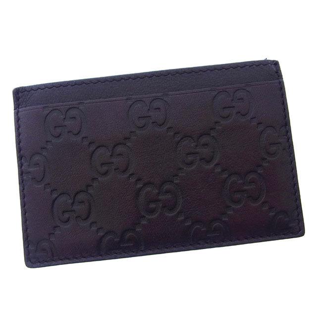 【中古】 グッチ GUCCI カードケース パスケース メンズ可 グッチシマ 163233 ブラウン レザー (あす楽対応)美品 Y2561 .