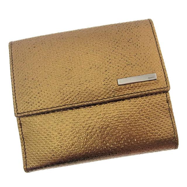 【中古】 グッチ GUCCI Wホック財布 二つ折り メンズ可 ロゴプレート付き リザード調 ゴールド×ブラックシルバー 型押しレザー (あす楽対応)良品 Y2623 .