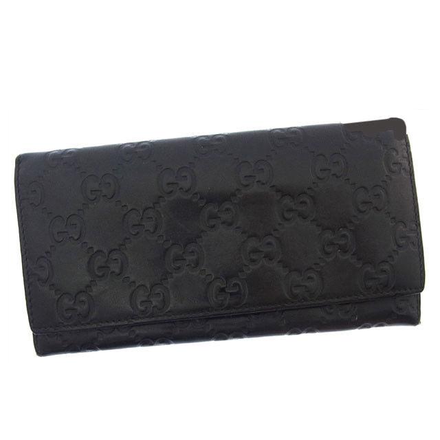 【中古】 グッチ GUCCI 長財布 ファスナー 二つ折り メンズ可 グッチシマ 146229 ブラック レザー (あす楽対応)激安 Y2636 .