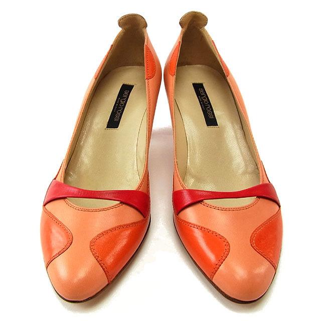 【中古】 セルジオロッシ Sergio Rossi パンプス シューズ 靴 レディース ♯36 ラウンドトゥ カラー切替え サーモンピンク×オレンジ×レッド レザー (あす楽対応)良品 Y2657 .