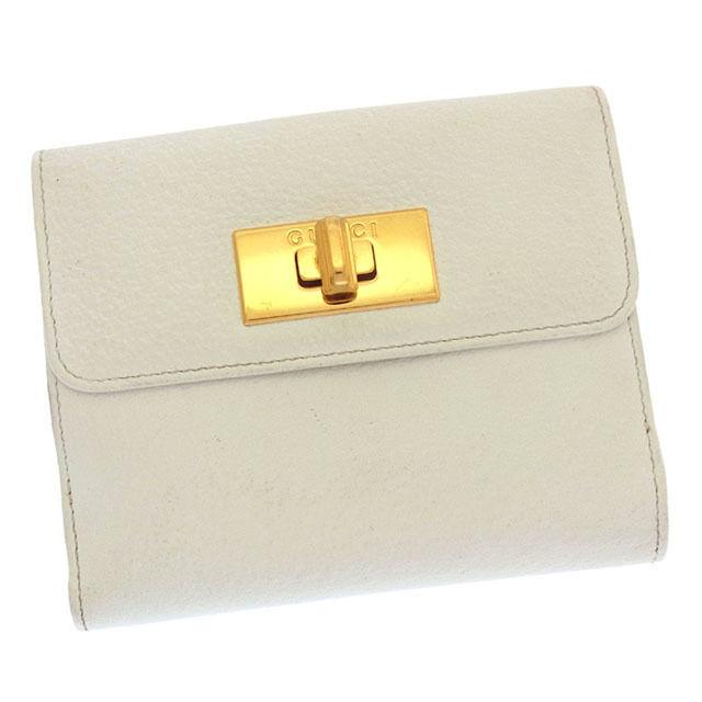 【中古】 グッチ GUCCI Wホック財布 二つ折り コンパクトサイズ メンズ可 ロゴプレート ホワイト×ゴールド レザー (あす楽対応)激安 Y2675 .