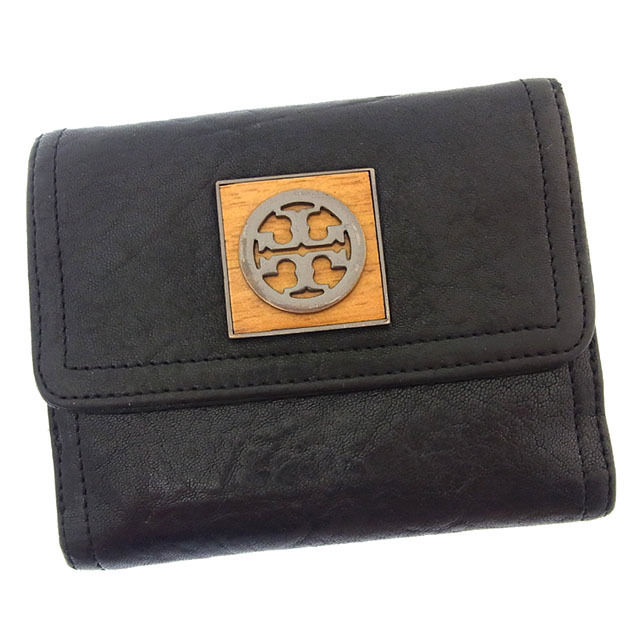 【中古】 トリーバーチ Tory Burch Wホック財布 二つ折り メンズ可 ロゴプレート ブラック×ナチュラル レザー (あす楽対応)良品 Y2698 .