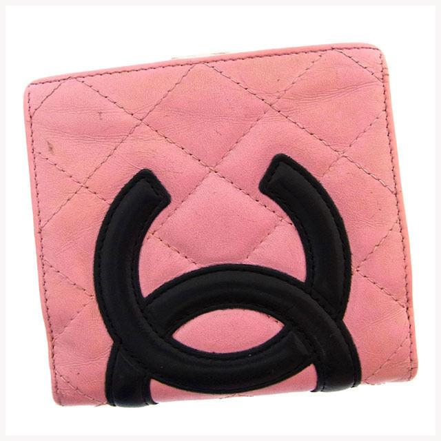 【中古】 シャネル CHANEL 二つ折り財布 がま口 コンパクトサイズ レディース カンボンライン ピンク×ブラック×シルバー レザー (あす楽対応)激安 Y2704 .