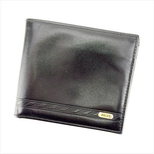 【中古】 バリー BALLY 二つ折り札入れ コンパクトサイズ メンズ ブラック×ゴールド T15085 .