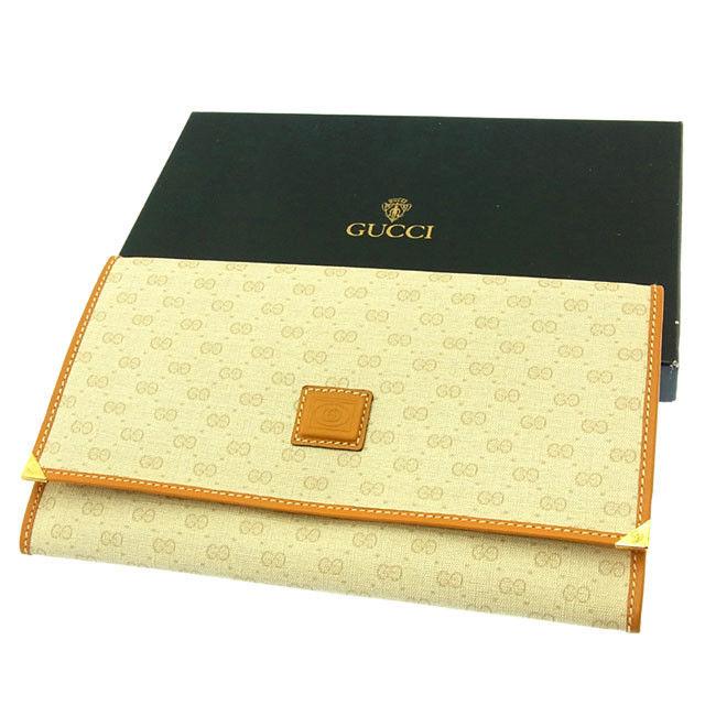 【中古】 グッチ GUCCI 長財布 パスポートケース メンズ可 ヴィンテージ マイクロGG ベージュ×ライトブラウン×ゴールド PVC×レザー (あす楽対応)未使用 Y2739 .