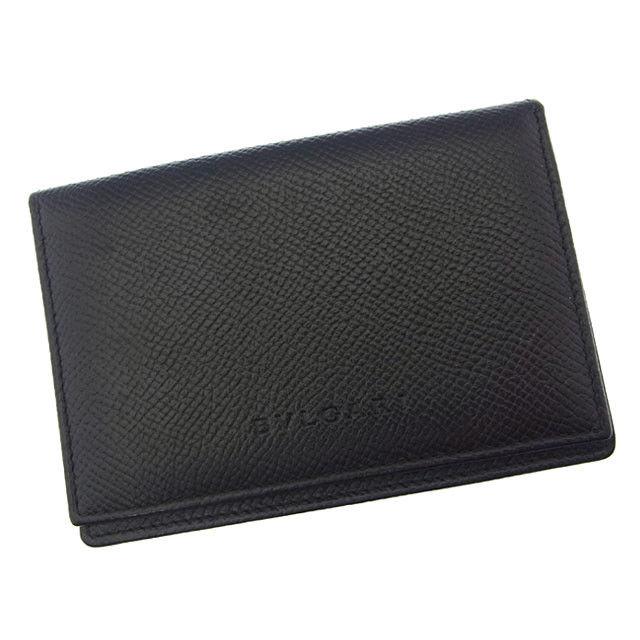 【中古】 ブルガリ BVLGARI カードケース パスケース 名刺入れ メンズ可 ロゴ ブラック レザー (あす楽対応)美品 Y2753 .
