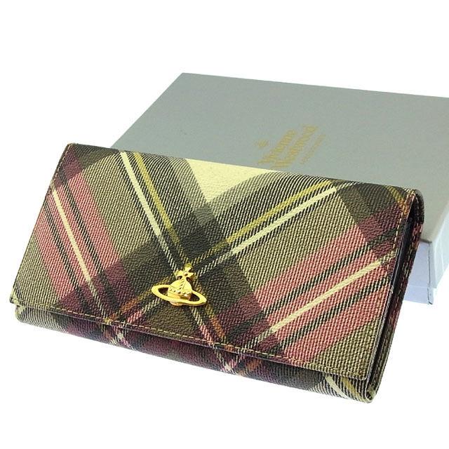 【中古】 ヴィヴィアンウエストウッド Vivienne Westwood 長財布 ファスナー 二つ折り メンズ可 オーブ×チェック 1032VW30 ブラック×レッド×ゴールド系 PVC×レザー (あす楽対応)良品 Y2762 .