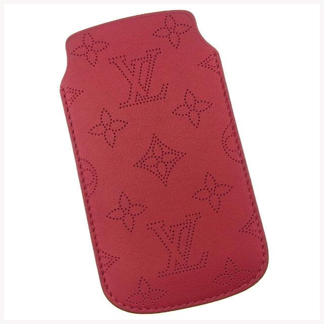 【中古】 ルイヴィトン Louis Vuitton iPhone5ケース アイフォン5ケース レディース ソフトケース マヒナ M60556 ユライユ(レッド) カーフレザー (あす楽対応) 未使用 Y2788