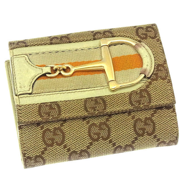 【中古】 グッチ GUCCI Wホック財布 二つ折り コンパクトサイズ メンズ可 ハスラービット付き GGキャンバス 138030 ベージュ×ブラウン×ゴールド系 キャンバス×レザー (あす楽対応)激安 人気 Y2792 .