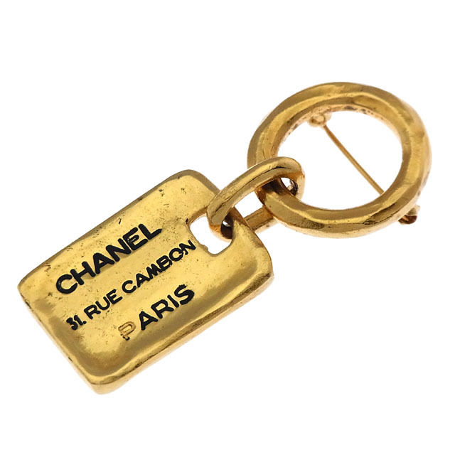 【中古】 シャネル CHANEL ブローチ ファッションアクセサリー メンズ可 プレート×リング ゴールド×ブラック ゴールド金具 (あす楽対応)激安 Y2831