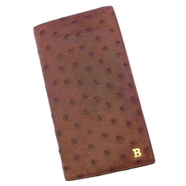 【中古】 バリー BALLY 長札入れ 二つ折り メンズ可 クィルマーク Bマーク ブラウン×ゴールド オーストリッチレザー (あす楽対応)激安 Y2854 .