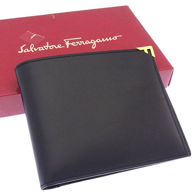 【中古】 サルヴァトーレフェラガモ Salvatore Ferragamo 二つ折り札入れ コンパクトサイズ メンズ Fプレート ブラック×ゴールド レザー (あす楽対応)美品 Y2856 .