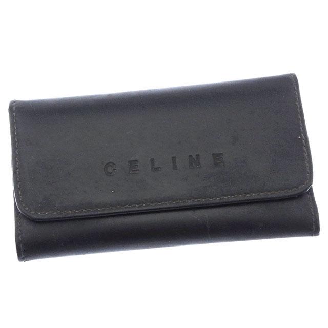 【中古】 セリーヌ CELINE キーケース 6連キーケース メンズ ブラック×シルバー T10870
