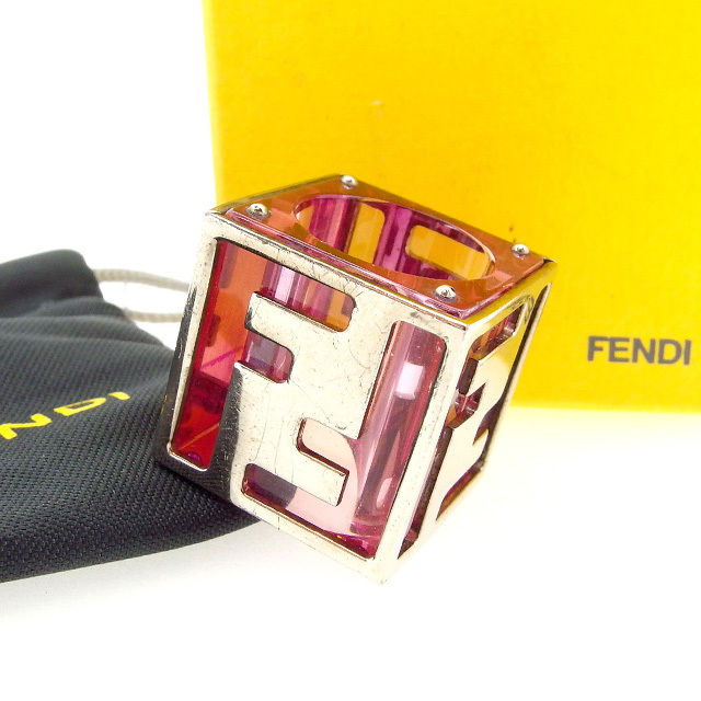 【中古】 フェンディ FENDI 指輪 リング レディース ズッカ ピンク×シルバー (あす楽対応)激安 Y2939 .