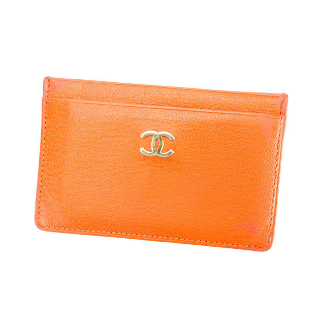 【中古】 シャネル CHANEL カードケース メンズ可 ココマーク オレンジ レザー (あす楽対応)良品 Y2945