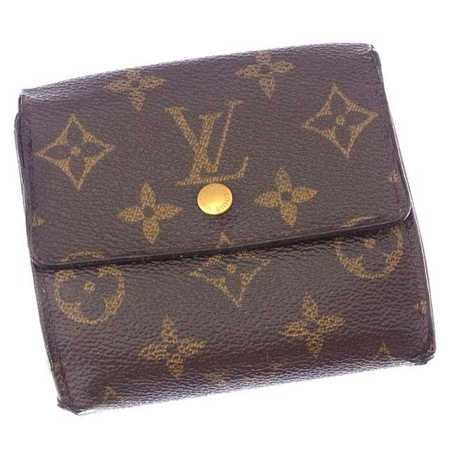 【中古】 ルイヴィトン Louis Vuitton Wホック財布 三つ折り メンズ可 ポルトモネビエカルトクレディ モノグラム M61652 ブラウン モノグラムキャンバス (あす楽対応)人気 Y3034 .