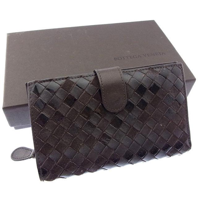 【中古】 ボッテガヴェネタ BOTTEGA VENETA 二つ折り財布 ラウンドファスナー メンズ可 イントレチャート 121060 ダークブラウン レザー (あす楽対応)人気 Y3046 .