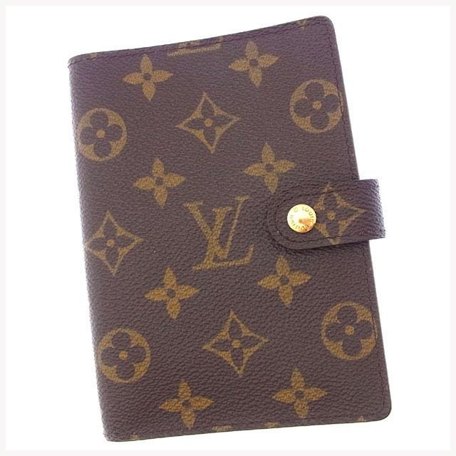 【中古】 ルイヴィトン Louis Vuitton 手帳カバー カード入れ×3 メンズ可 アジェンダPM モノグラム R20005 ブラウン モノグラムキャンバス (あす楽対応)良品 Y3061 .