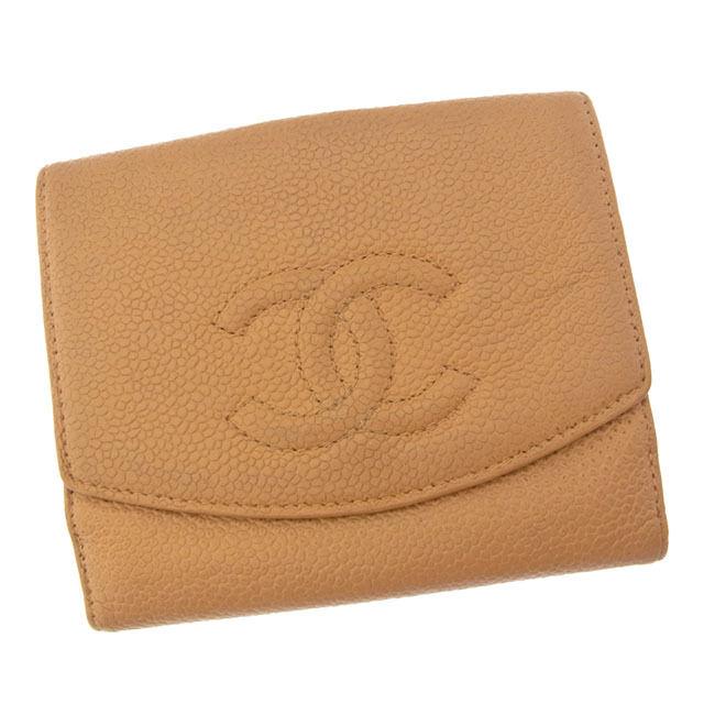 【中古】 シャネル CHANEL Wホック財布 二つ折り コンパクトサイズ メンズ可 ココマーク ベージュ キャビアスキン (あす楽対応)人気 Y3087 .