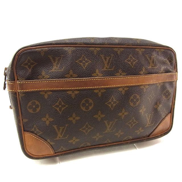【中古】 ルイヴィトン Louis Vuitton セカンドバッグ クラッチバッグ メンズ可 コンピエーニュ28 モノグラム M51845 ブラウン モノグラムキャンバス (あす楽対応)人気 Y3115 .