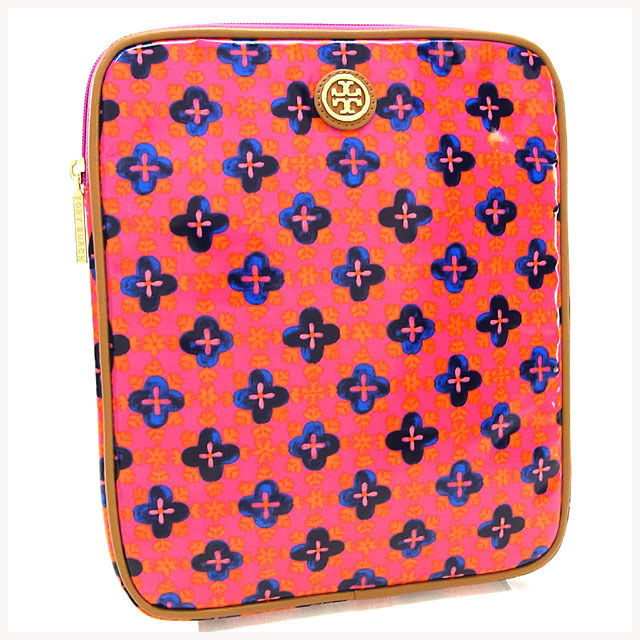 【中古】 トリーバーチ Tory Burch iPadケース アイパッドケース レディース ロゴモチーフプレート付き フラワー柄 ピンク×ベージュ×ゴールド系 コーティングキャンバス×レザー (あす楽対応) 未使用 Y3146