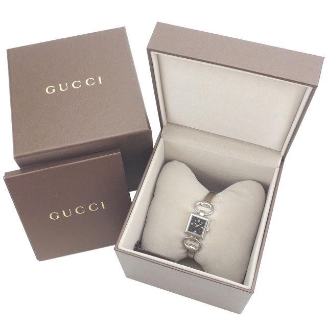 【中古】 グッチ GUCCI 腕時計 クォーツ レディース ダイヤモンド入り文字盤 スクエアフェイス GG柄 YA120507 シルバー×ブラック ステンレススチール×サファイアガラス×ダイヤモンド (あす楽対応) 未使用 Y3180