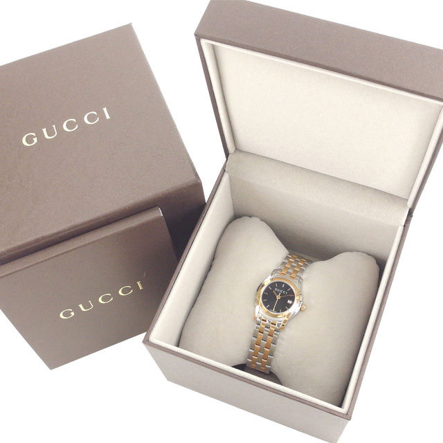 【中古】 グッチ GUCCI 腕時計 クォーツ レディース Gクラス ラウンドフェイス ロゴ YA055537 5505L シルバー×ピンクゴールド×ブラック ステンレススチール×サファイアガラス (あす楽対応) 未使用 Y3181