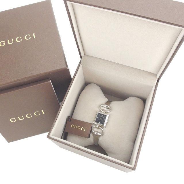 【中古】 グッチ GUCCI 腕時計 クォーツ レディース ダイヤモンド入り文字盤 シルバー×ブラック T12455