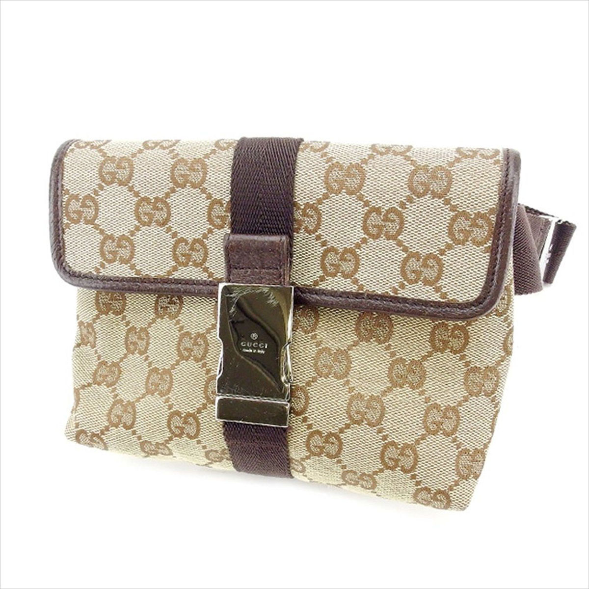 80986f56f907 Gucci GUCCI bum-bag waist porch men's possible GG canvas 131236 beige X  brown X silver canvas X leather (correspondence) beauty article sale Y3203