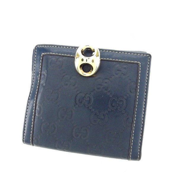 【中古】 グッチ GUCCI Wホック財布 二つ折り コンパクトサイズ メンズ可 金具クリップ付き グッチシマ 159917 ネイビー×ライトゴールド レザー (あす楽対応)激安 Y3224 .