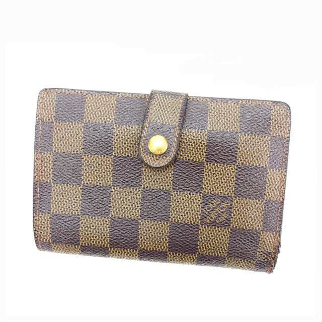 【中古】 ルイヴィトン Louis Vuitton がま口財布 二つ折り メンズ可 ポルトモネビエヴィエノワ ダミエ N61664 エベヌ(ブラウン系) ダミエキャンバス (あす楽対応)激安 Y3235 .
