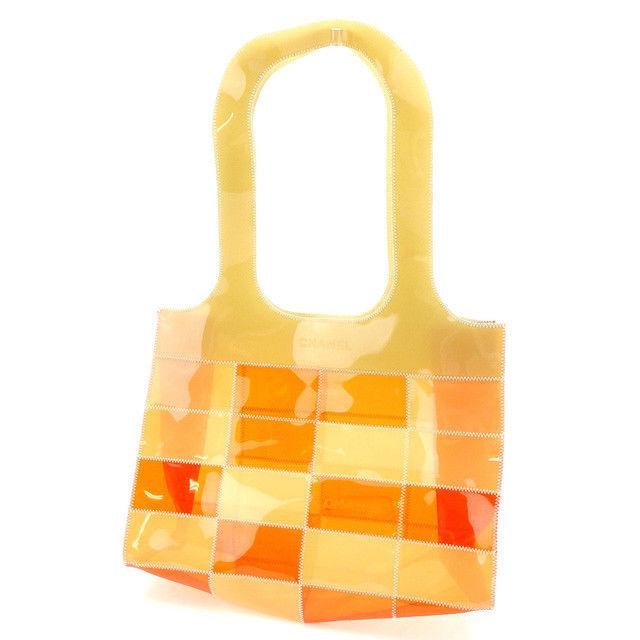 【中古】 シャネル CHANEL トートバッグ ショルダーバッグ レディース ロゴ入り チョコバー ベージュ×オレンジ ビニール (あす楽対応)激安 Y3255
