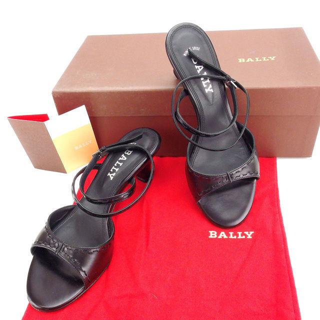 【中古】 バリー BALLY サンダル シューズ 靴 レディース ♯35EU・4ハーフUS アンクルストラップ ブラック×シルバー レザー (あす楽対応)良品 Y3351 .