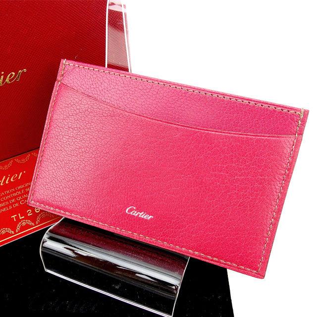 【中古】 カルティエ Cartier カードケース ピンク レザー (迅速発送対応)人気 美品 T13677 .