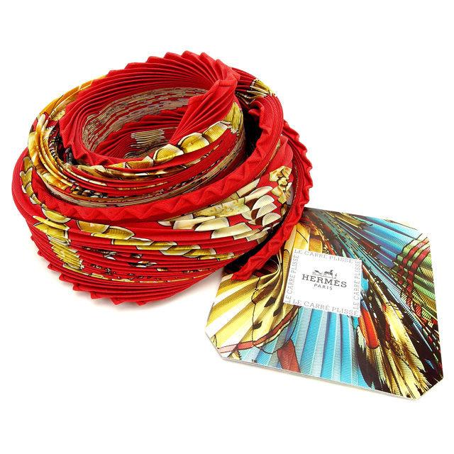 【中古】 エルメス HERMES スカーフ プリーツ 貝殻 レッド 100%シルク (あす楽対応)人気 良品 T16126
