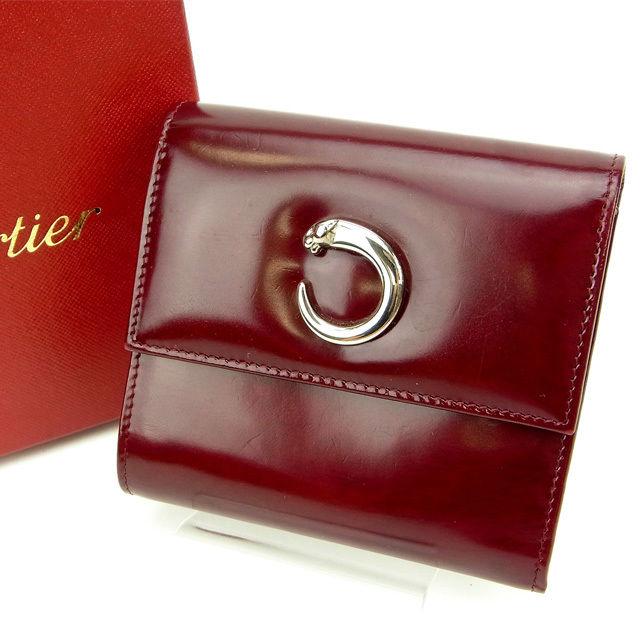 【中古】 カルティエ Cartier 三つ折り財布 パンテール ボルドー レザー (あす楽対応)人気 良品 Y849 .