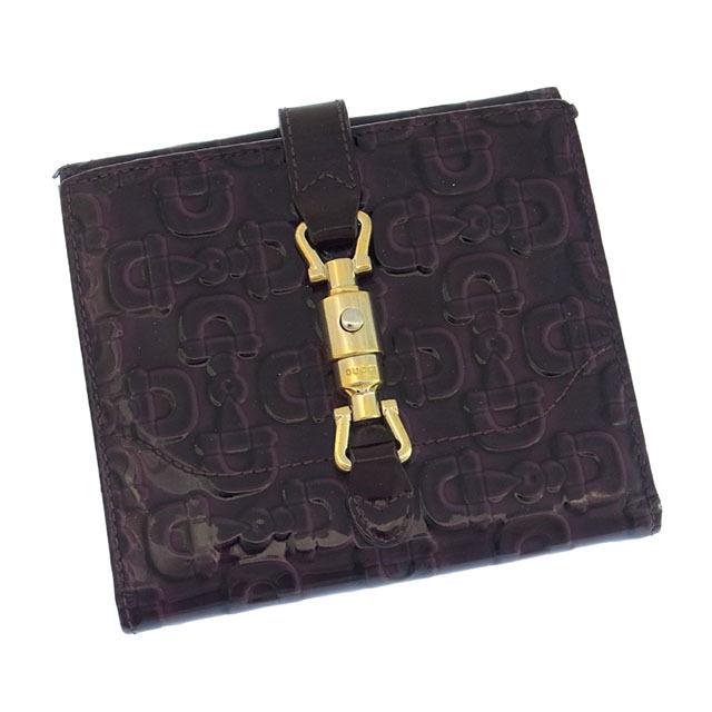 【中古】 グッチ GUCCI Wホック財布 二つ折り メンズ可 ジャッキー金具 ビット金具柄 パープル×ゴールド エナメルレザー (あす楽対応)人気 激安 Y868 .