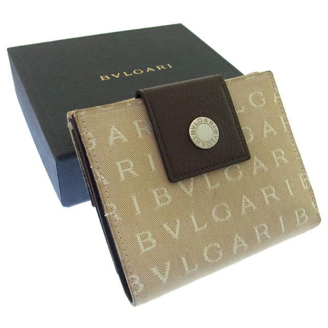 【中古】 ブルガリ BVLGARI Wホック財布 二つ折り メンズ可 ロゴボタン付き ロゴマニア ベージュ×ブラウン×シルバー キャンバス×レザー (あす楽対応)人気 良品 Y877 .