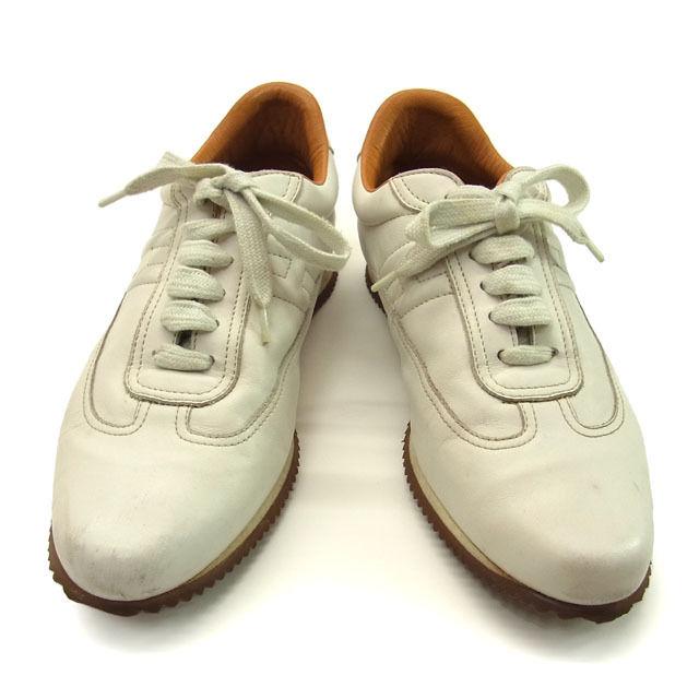 【中古】 エルメス HERMES スニーカー シューズ 靴 メンズ ♯37 クイック Hマーク ホワイト×ライトブラウン レザー (あす楽対応)人気 激安 Y887 .